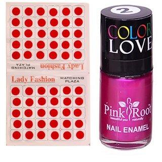 Pink Root Nail Polish No. 02 (15ml) Lady Fashion No. 09 Red Bindi