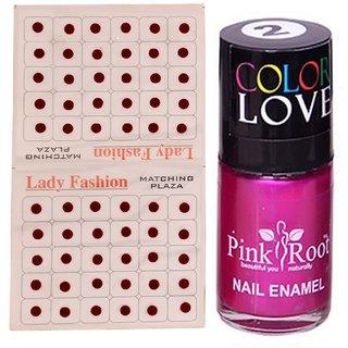 Pink Root Nail Polish No. 02 (15ml) Lady Fashion No. 12 Maroon Bindi