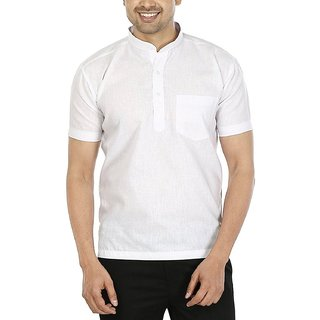 LDHSATI Half sleeve Short White Kurtas Pure Cotton Kurta for Men's and boy's