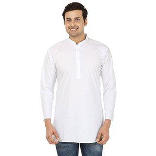 LDHSATI Full sleeve Short White Kurtas Pure Cotton Kurta for Men's and boy's