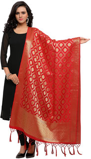 Meia Womens Red Colored Woven Banarasi Poly Silk Dupatta
