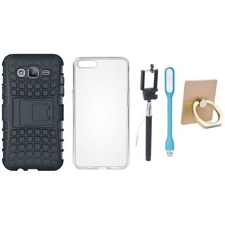 Oppo A57 Defender Tough Hybrid Shockproof Cover with Ring Stand Holder, Silicon Back Cover, Selfie Stick and USB LED Light