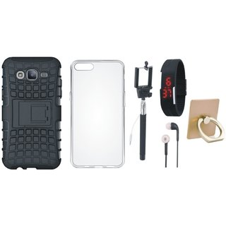 Oppo A57 Defender Tough Hybrid Shockproof Cover with Ring Stand Holder, Silicon Back Cover, Selfie Stick, Digtal Watch and Earphones