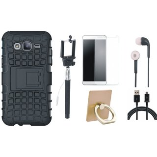 Oppo A57 Shockproof Tough Armour Defender Case with Ring Stand Holder, Free Selfie Stick, Tempered Glass, Earphones and USB Cable