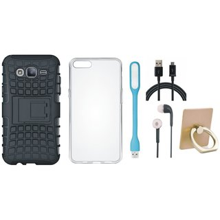 Oppo A57 Shockproof Tough Armour Defender Case with Ring Stand Holder, Silicon Back Cover, Earphones, USB LED Light and USB Cable