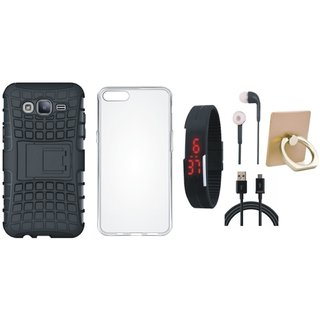 Oppo A57 Shockproof Tough Armour Defender Case with Ring Stand Holder, Silicon Back Cover, Digital Watch, Earphones and USB Cable