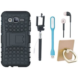 Oppo A57 Shockproof Kick Stand Defender Back Cover with Ring Stand Holder, Selfie Stick, Earphones and USB LED Light