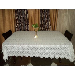 AH  White  Color  Geometric Design  Net 6 Seater Dining Table Cover  (60x90 inches )