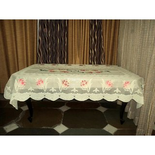 AH  Lemon Yellow Color  Floral Design  Net 6 Seater Dining Table Cover  (60x90 inches )