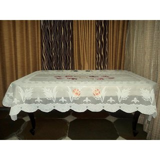 AH  White  Color  Floral Design  Net 6 Seater Dining Table Cover  (60x90 inches )
