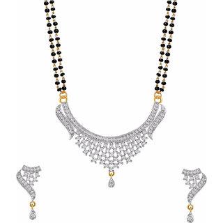 Bhagya Lakshmi Women's Pride AD Stone Mangalsutra With Earrings For Women