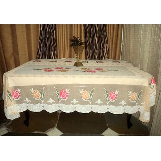 AH  Multi  Color  Floral Design  Net 6 Seater Dining Table Cover  (60x90 inches )