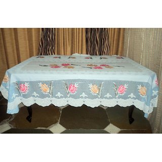 AH  Blue Color  Floral Design  Net 6 Seater Dining Table Cover  (60x90 inches )