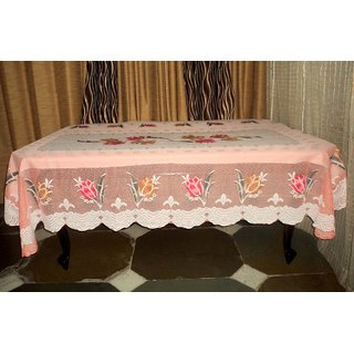 AH  Pink Color  Floral Design  Net 6 Seater Dining Table Cover  (60x90 inches )