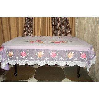 AH  Purple Color  Floral Design  Net 6 Seater Dining Table Cover  (60x90 inches )