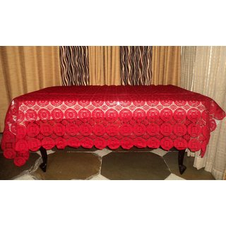 AH  Maroon Color  Geometric Design  Net 6 Seater Dining Table Cover  (60x90 inches )