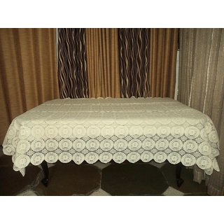 AH  Beige Color  Geometric Design  Net 6 Seater Dining Table Cover  (60x90 inches )