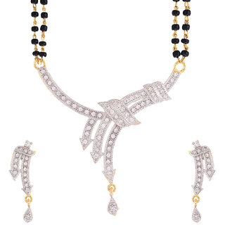 Bhagya Lakshmi Women's Pride AD Stone Mangalsutra With Earrings For Women