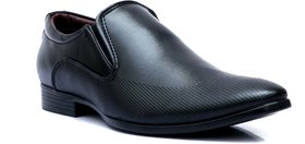 Enzo Cardini Men's Black Synthetic Slip On Formal Shoes