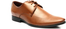 Enzo Cardini Men's Tan Synthetic Derby Formal Shoes