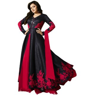 OM FASHION fancy dress fashion women's new black bangalori silk semi stitched anarkali salwar suit With Dupatta