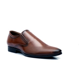 Enzo Cardini Men's Brown Synthetic Slip On Formal Shoes
