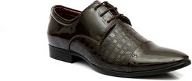 Enzo Cardini Men's Brown Synthetic Derby Formal Shoes