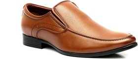 Enzo Cardini Men's Tan Synthetic Slip On Formal Shoes