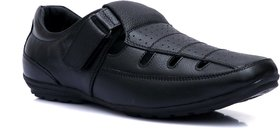 Enzo Cardini Men's Black Leather Casual Sandal