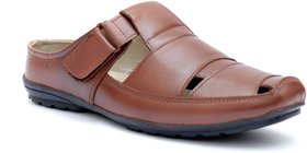 Enzo Cardini Men's Brown Leather Roman Casual Sandal