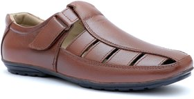 Enzo Cardini Men's Brown Leather Roman Casual Sandal - 138845640