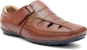 Enzo Cardini Men's Brown Leather Roman Casual Sandal