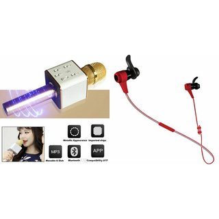 Zemini Q7 Microphone and Reflect Earphone Headset for MICROMAX CANVAS GOLD A300(Q7 Mic and Karoke with bluetooth speaker | Reflect Earphone Headset )