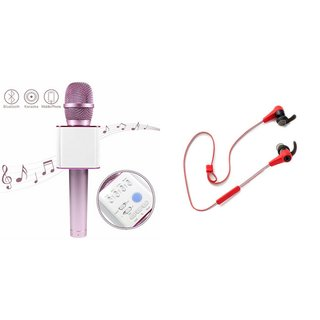 Zemini Q7 Microphone and Reflect Earphone Headset for MICROMAX CANVAS WIN W121(Q7 Mic and Karoke with bluetooth speaker | Reflect Earphone Headset )