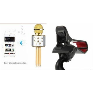 Clairbell Q7 Microphone and Car Holder for Oppo F3 Plus(Q7 Mic and Karoke with bluetooth speaker | Car Holder, Minnor Holder )