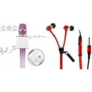 Zemini Q7 Microphone and Zipper Earphone Headset for OPPO FIND 7(Q7 Mic and Karoke with bluetooth speaker | Zipper Earphone Headset )