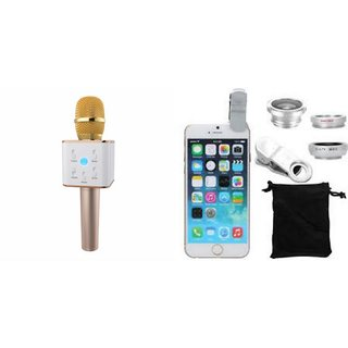 Mirza Q7 Microphone and Mobile Lens for SAMSUNG GALAXY S7 EDGE(Q7 Mic and Karoke with bluetooth speaker | Mobile Lens, Clip Lens )