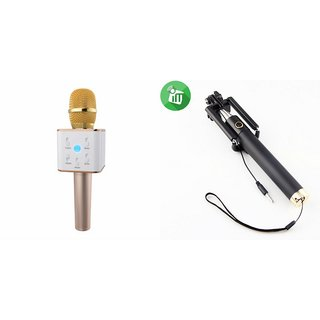 Zemini Q7 Microphone and Selfie Stick for HTC U play(Q7 Mic and Karoke with bluetooth speaker | Selfie Stick )