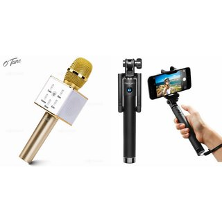 Zemini Q7 Microphone and Selfie Stick for GIONEE ELIFE S5.5(Q7 Mic and Karoke with bluetooth speaker | Selfie Stick )