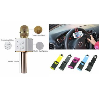 Mirza Q7 Microphone and Car Sterring Holder for SAMSUNG GALAXY WIN 2 DUOS(Q7 Mic and Karoke with bluetooth speaker | Car Sterring Holder, Car Minnor Holder, Mobile Holder )