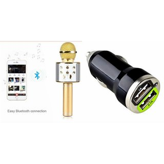 Zemini Q7 Microphone and Car Charger for HTC DESIRE 210 DUAL SIM(Q7 Mic and Karoke with bluetooth speaker | Car Charger )