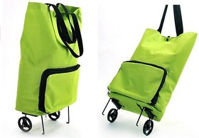 Foldable Green Shopping Trolley or Hand Bag