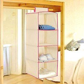 Non-Woven Hanging Clothes Storage Box Organizer 4 Layers Wardrobe 4 Shelving Units