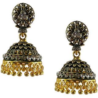 Metalic alloy oxidies Jhumki Earrings design number 3