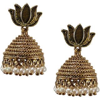 Metalic alloy oxidies Jhumki Earrings with lotus design number 4
