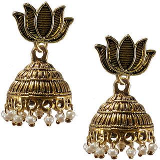 Metalic alloy oxidies Jhumki Earrings with lotus design number 5