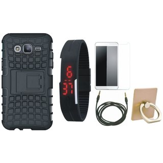 Moto G5s Shockproof Tough Armour Defender Case with Ring Stand Holder, Free Digital LED Watch, Tempered Glass and AUX Cable
