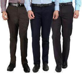 Gwalior Pack Of 3 Formal Trousers - Blue, Brown, Grey