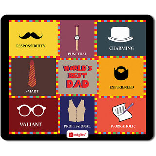Indigifts Father Birthday Gifts Worlds Best Dad Quote Colourful Checks Graphic Multi Mouse Pad 85x7