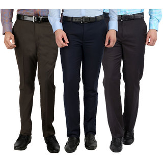Gwalior Pack Of 3 Formal Trousers - Blue, Brown, Grey